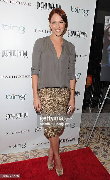 Actress Amanda Righetti arrives to the Los Angeles Confidential Magazine's Men's Issue Cover Party at Palihouse Holloway on October 29 2011 in West...