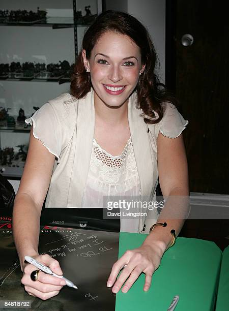 Actress Amanda Righetti attends Anchor Bay Entertainment's Jason Voorhees reunion at Emerald Knights comics and games store on February 3 2009 in...