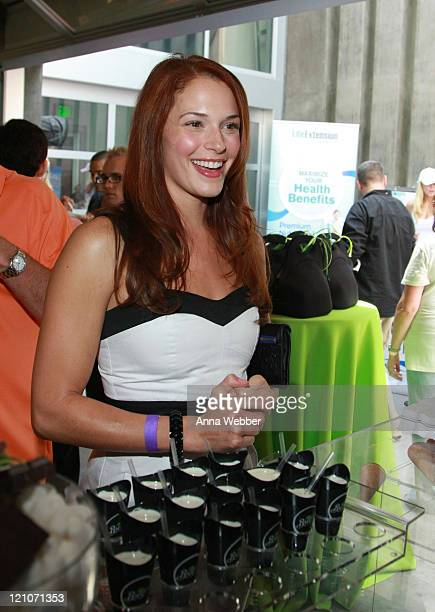 Actress Amanda Righetti attends the Breyers' booth at the Kari Feinsten Primetime Emmy Awards style lounge at Zune LA on September 17 2009 in Los...