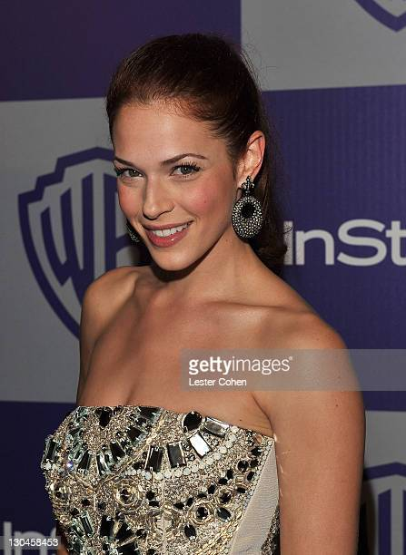 Actress Amanda Righetti attends the InStyle and Warner Bros 67th Annual Golden Globes post party held at the Oasis Courtyard at The Beverly Hilton...