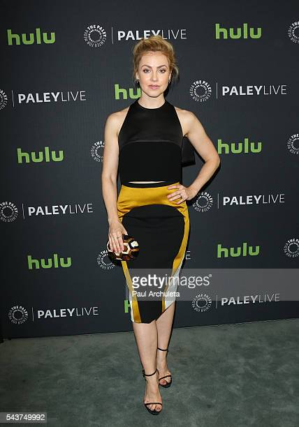 Actress Amanda Schull attends PaleyLive LA's screening of 12 Monkeys at The Paley Center for Media on June 29 2016 in Beverly Hills California
