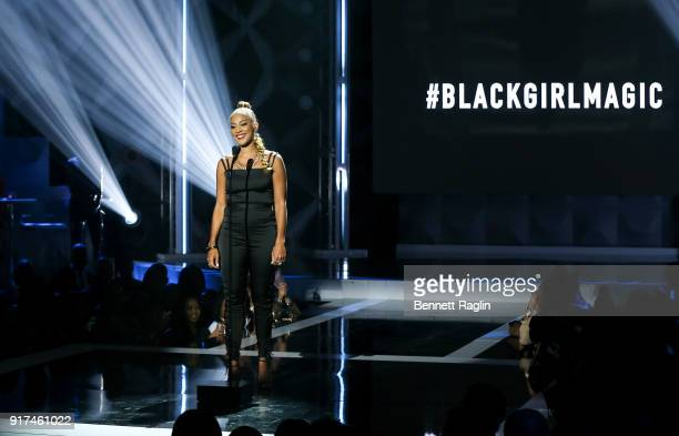 Actress Amanda Seales performs during BET's Social Awards 2018 Show at Tyler Perry Studio on February 11 2018 in Atlanta Georgia