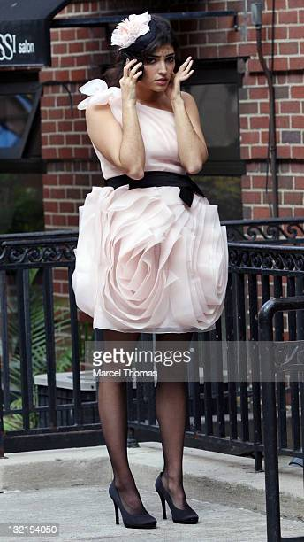 Actress Amanda Setton is seen on the set of the TV show 'Gossip Girl' on location on the upper eastside of Manhattan on November 10 2011 in New York...