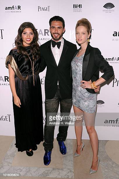 Actress Amanda Setton Lorenzo Martone and model Julie Ordon attend the 2010 amFAR New York Inspiration Gala at The New York Public Library on June 3...