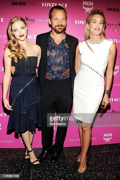 Actress Amanda Seyfried, actor Peter Sarsgaard and actress Sharon Stone attend The Cinema Society and MCM with Grey Goose host a screening of Radius...