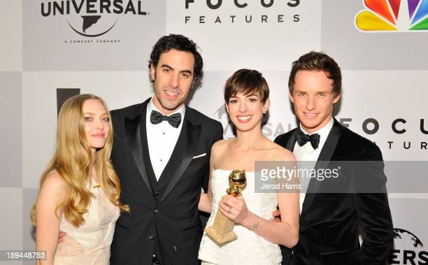 Actress Amanda Seyfried actor Sacha Baron Cohen actress Anne Hathaway and actor Eddie Redmayne of Les Miserables attend the NBCUniversal Golden...