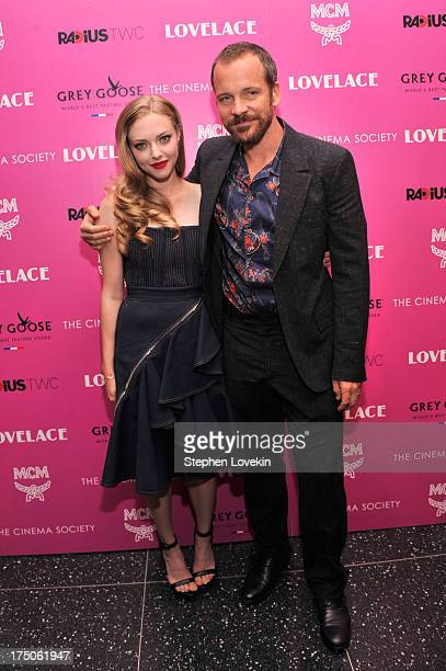 Actress Amanda Seyfried and actor Peter Sarsgaard attend The Cinema Society and MCM with Grey Goose screening of Radius TWC's Lovelace at MoMA on...