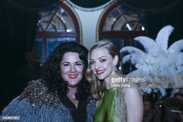 Actress Amanda Seyfried and artist Ashley Longshore attend the promotional event for Shiseido's Cle de Peau Beaute at Fairmont Peace Hotel on June 16...