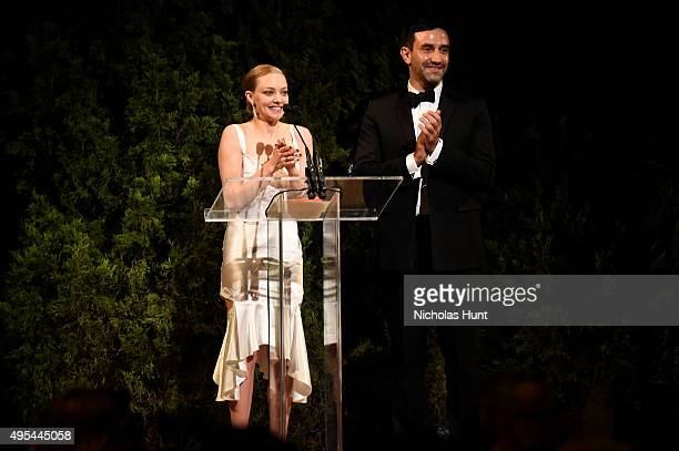 Actress Amanda Seyfried and designer and keynote speaker Riccardo Tisci speak onstage at the 12th annual CFDA/Vogue Fashion Fund Awards at Spring...