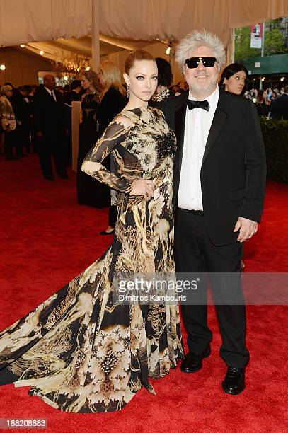 Actress Amanda Seyfried and director Pedro Almodovar attend the Costume Institute Gala for the PUNK Chaos to Couture exhibition at the Metropolitan...