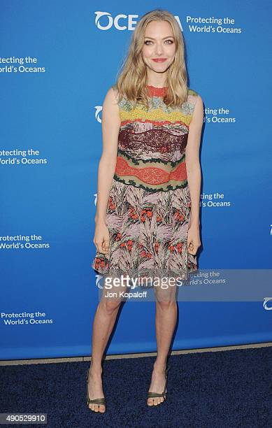 Actress Amanda Seyfried arrives at A Concert For Our Oceans at Wallis Annenberg Center for the Performing Arts on September 28 2015 in Beverly Hills...
