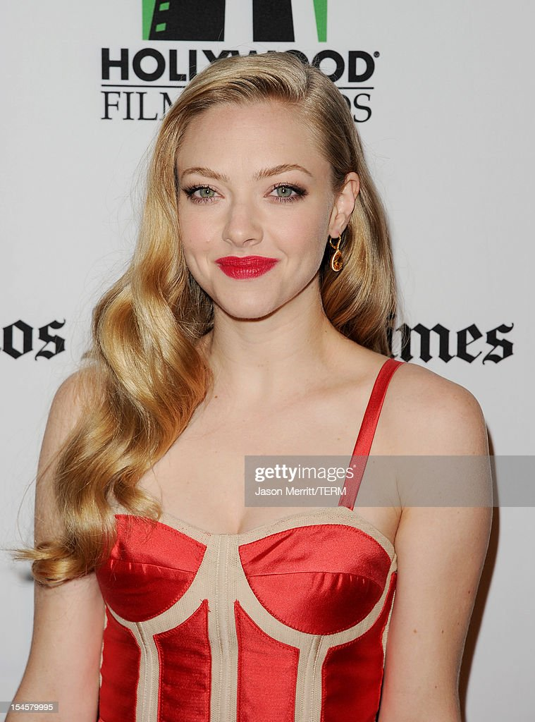 Actress Amanda Seyfried arrives at the 16th Annual Hollywood Film Awards Gala presented by The Los Angeles Times held at The Beverly Hilton Hotel on October 22, 2012 in Beverly Hills, California.