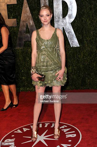 Actress Amanda Seyfried arrives at the 2010 Vanity Fair Oscar Party hosted by Graydon Carter held at Sunset Tower on March 7 2010 in West Hollywood...