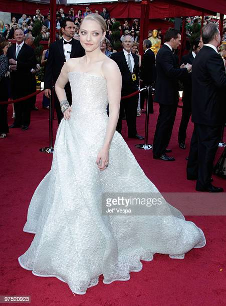 Actress Amanda Seyfried arrives at the 82nd Annual Academy Awards held at the Kodak Theatre on March 7 2010 in Hollywood California