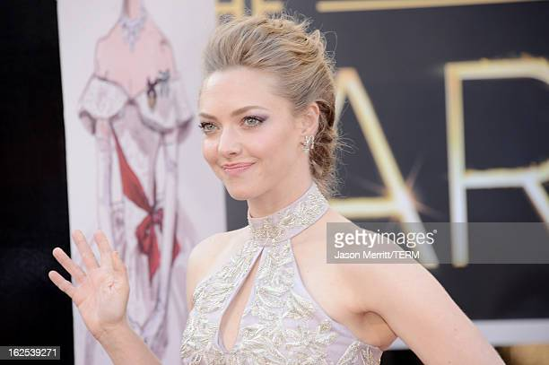 Actress Amanda Seyfried arrives at the Oscars at Hollywood Highland Center on February 24 2013 in Hollywood California