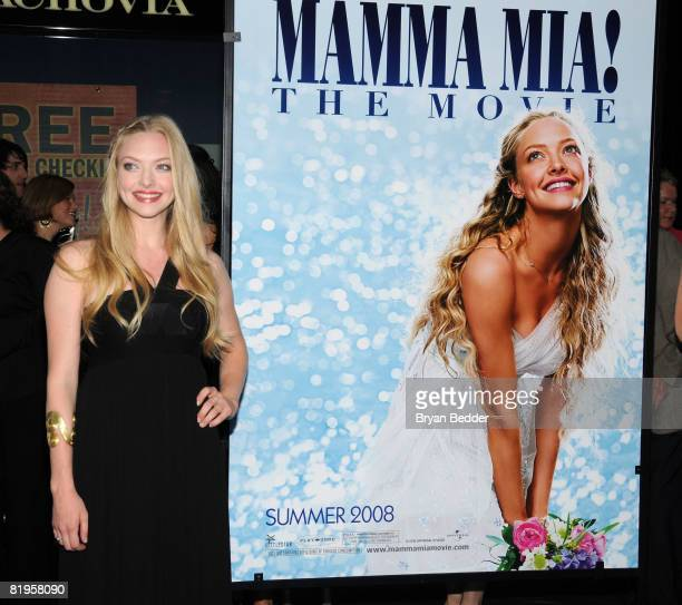 Actress Amanda Seyfried arrives at the premiere of 'Mamma Mia' at the Ziegfeld Theatre July 16 2008 in New York City