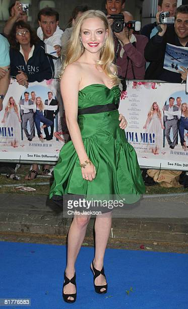 Actress Amanda Seyfried arrives at the World Premiere of Mamma Mia The Movie at the Odeon Leicester Square on June 30 2008 in London England