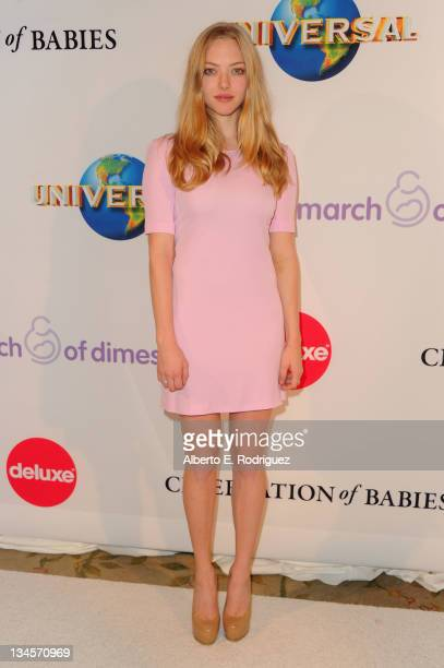 Actress Amanda Seyfried arrives to the March of Dimes' 6th Annual Celebration of Babies Luncheon at The Beverly Hills Hotel on December 2 2011 in...