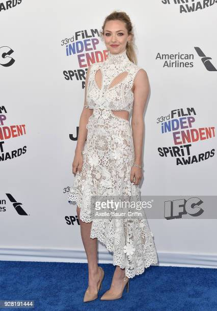 Actress Amanda Seyfried attends the 2018 Film Independent Spirit Awards on March 3 2018 in Santa Monica California