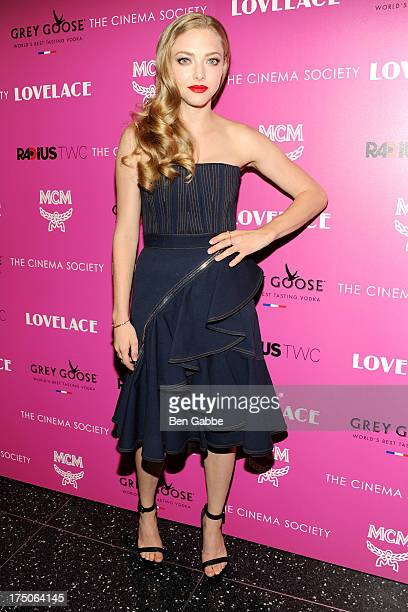 """Actress Amanda Seyfried attends The Cinema Society and MCM with Grey Goose host a screening of Radius TWC's """"Lovelace"""" at The Museum of Modern Art on..."""