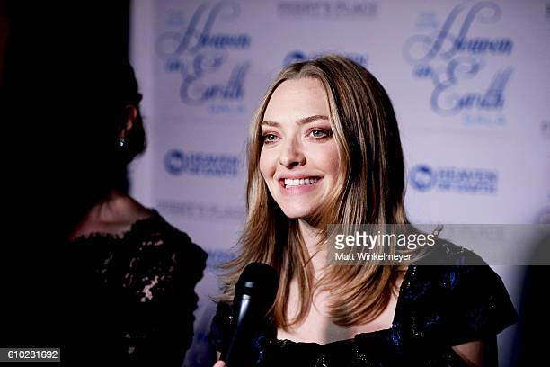 Actress Amanda Seyfried attends the Heaven On Earth Gala The Perry MacFarlane Legacy honoring 20th Century Fox TV Animation Amanda Seyfried and Karma...