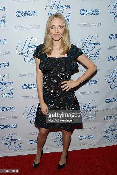 Actress Amanda Seyfried attends the Heaven On Earth Gala The Perry MacFarlane Legacy honoring 20th Century Fox TV Animation Amanda Seyfried and Karma...