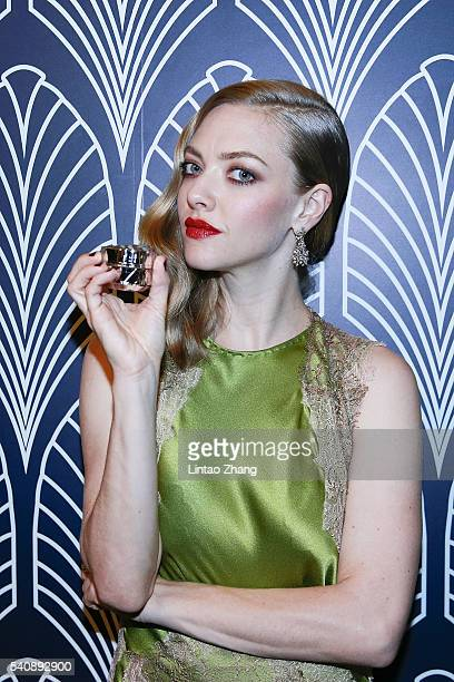 Actress Amanda Seyfried attends the promotional event for Shiseido's Cle de Peau Beaute at Fairmont Peace Hotel on June 16 2016 in Shanghai China