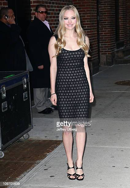 Actress Amanda Seyfried departs 'Late Show With David Letterman' at the Ed Sullivan Theater on March 1 2011 in New York City