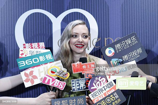 Actress Amanda Seyfried during an interview before the promotional event for Shiseido's Cle de Peau Beaute at Fairmont Peace Hotel on June 16 2016 in...