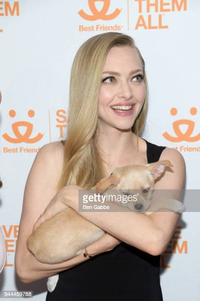 Actress Amanda Seyfried holds a puppy at the Best Friends Animal Society's 3rd Annual New York City Gala at Guastavino's on April 10 2018 in New York...
