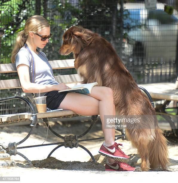 Actress Amanda Seyfried is seen at the dog park in SoHo on June 17 2015 in New York City