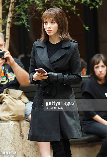 Actress Amanda Seyfried is seen on September 3 2016 on the set of 'Anon' in New York City