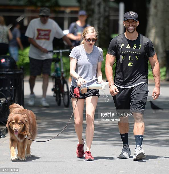 Actress Amanda Seyfried is seen walking her dog in SoHo on June 18 2015 in New York City