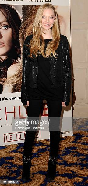 Actress Amanda Seyfried poses as she attends a photocall for the Atom Egoyan's film 'Chloe' at Hotel George V on February 8 2010 in Paris France