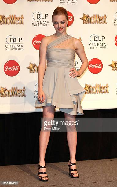 Actress Amanda Seyfried recipient of the Breakthrough Female Star of the Year Award arrives at the ShoWest awards ceremony at the Paris Las Vegas...