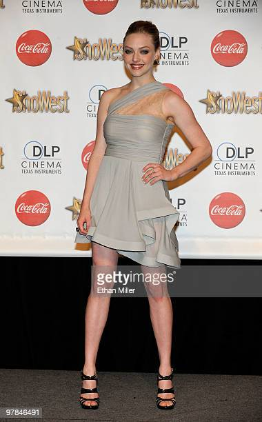 Actress Amanda Seyfried, recipient of the Breakthrough Female Star of the Year Award, arrives at the ShoWest awards ceremony at the Paris Las Vegas...