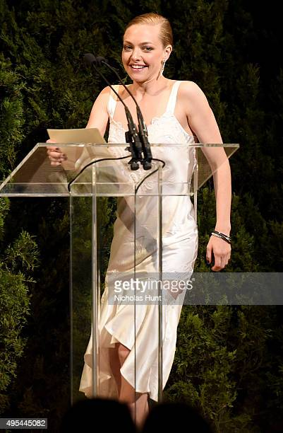 Actress Amanda Seyfried speaks onstage at the 12th annual CFDA/Vogue Fashion Fund Awards at Spring Studios on November 2 2015 in New York City