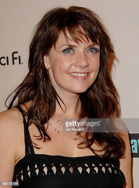 Actress Amanda Tapping arrives at the NBC Universal 2008 Press Tour AllStar Party at the Beverly Hilton Hotel on July 20 2008 in Beverly Hills...