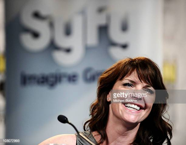 Actress Amanda Tapping attends Sanctuary Panel and Press Conference at Hilton San Diego Bayfront Hotel during ComicCon 2010 on July 24 2010 in San...