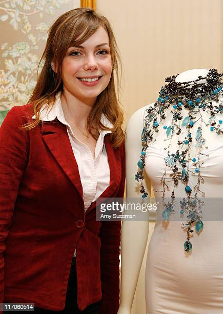 Actress Amanda Walsh stands next to necklace from KaTon Giovi at the Oh Canada Gift Suite at Peninsula Hotel on January 15 2010 in Beverly Hills...