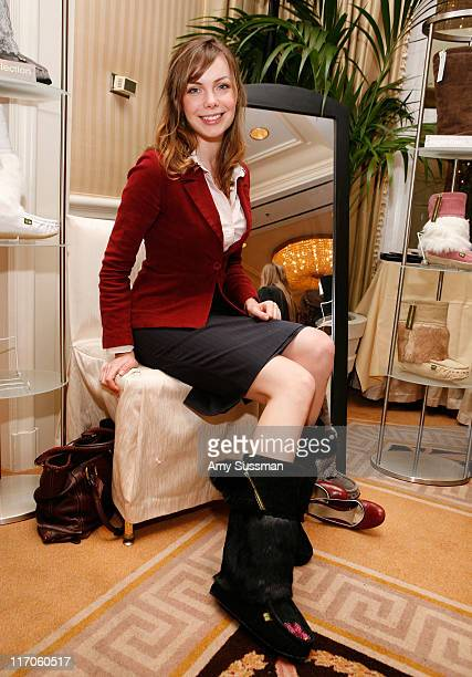 Actress Amanda Walsh wears mukluks boots from Sweet Pedtooties the Oh Canada Gift Suite at Peninsula Hotel on January 15 2010 in Beverly Hills...