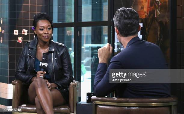 Actress Amanda Warren and host Ricky Camilleri attend the Build Series to discuss 'The Purge' at Build Studio on September 7 2018 in New York City