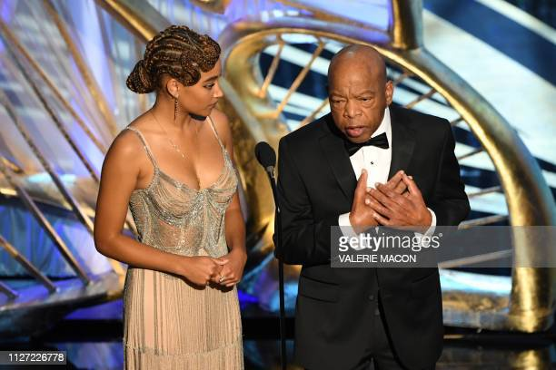 US actress Amandla Stenberg and Congressman John Lewis present an award during the 91st Annual Academy Awards at the Dolby Theatre in Hollywood...