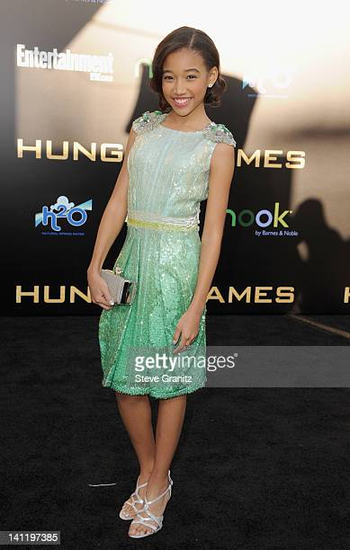 Actress Amandla Stenberg arrives at The Hunger Games Los Angeles premiere held at Nokia Theatre LA Live on March 12 2012 in Los Angeles United States