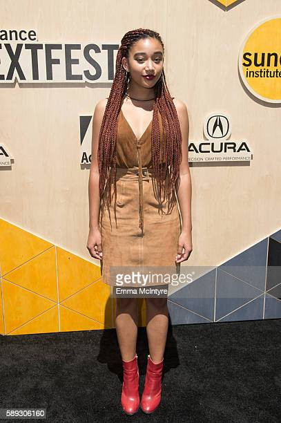 Actress Amandla Stenberg arrives at the Sundance Next Fest premiere of 'Morris From America' at The Theatre At The Ace Hotel on August 13 2016 in Los...