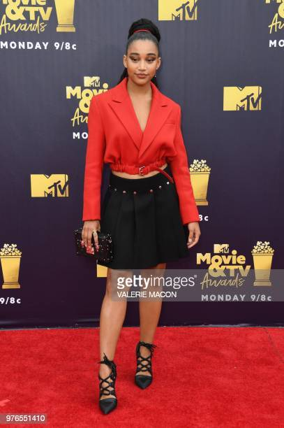 US actress Amandla Stenberg attends the 2018 MTV Movie TV awards at the Barker Hangar in Santa Monica on June 16 2018 This year's show is not live It...