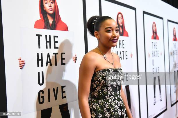 Actress Amandla Stenberg attends The Hate U Give Atlanta Red Carpet Screening at Regal Atlantic Station on October 3 2018 in Atlanta Georgia