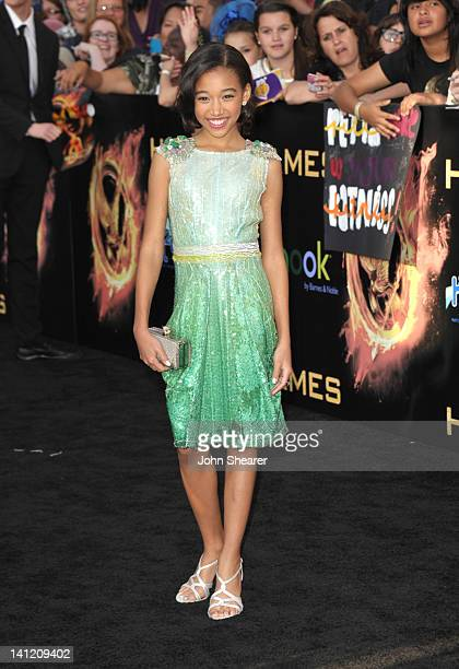 Actress Amandla Stenberg attends The Hunger Games Los Angeles Premiere at Nokia Theatre at LA Live on March 12 2012 in Los Angeles United States
