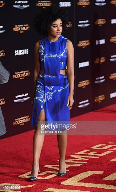 """Actress Amandla Stenberg attends the premiere of """"The Hunger Games: Mockingjay - Part 2"""" at the Microsoft Theater in Los Angeles, California,..."""