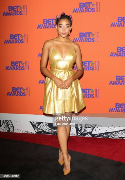 Actress Amandla Stenberg poses for photos in the press poom at the 2018 BET Awards at Microsoft Theater on June 24 2018 in Los Angeles California